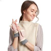 户外保暖半指手套  女秋冬天卡通毛线手套  冬学生可爱翻盖露指手套