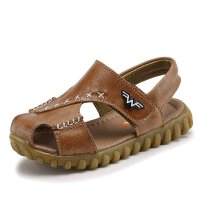 Hug Bear夏季男童鞋韩版牛皮牛筋底包头牛皮儿童凉鞋潮宝宝沙滩鞋防滑