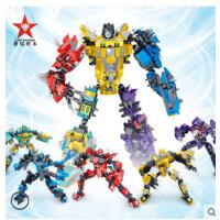 星钻积木积变战士3变儿童塑料拼插机器人 益智拼装玩具男孩