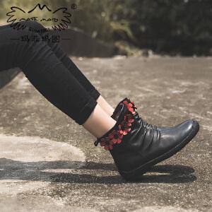 玛菲玛图单靴子女冬款2017新款英伦切尔西短靴百搭学生平底民族风花朵裸靴5052-6秋季新品