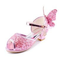 咭乐熊夏季女童凉鞋2017新款儿童高跟鞋韩版鱼嘴公主鞋中大码水晶鞋女孩