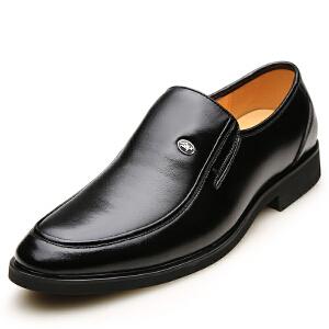 格罗堡春季新款男士皮鞋时尚新款商务休闲正装皮鞋套脚透气低帮鞋婚鞋爸爸鞋B7288