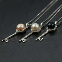 天然珍珠S925纯银微镶锆石项链时尚个性百搭钥匙吊坠饰品女款
