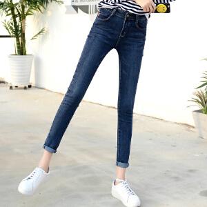 Freefeel2017秋季韩版新款中腰小脚牛仔裤女弹力修身打底大码显瘦学生铅笔裤