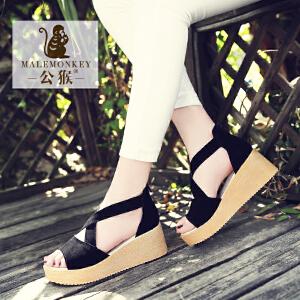 公猴坡跟凉鞋女夏松糕中跟罗马女鞋真皮平底高跟凉鞋休闲厚底鞋子