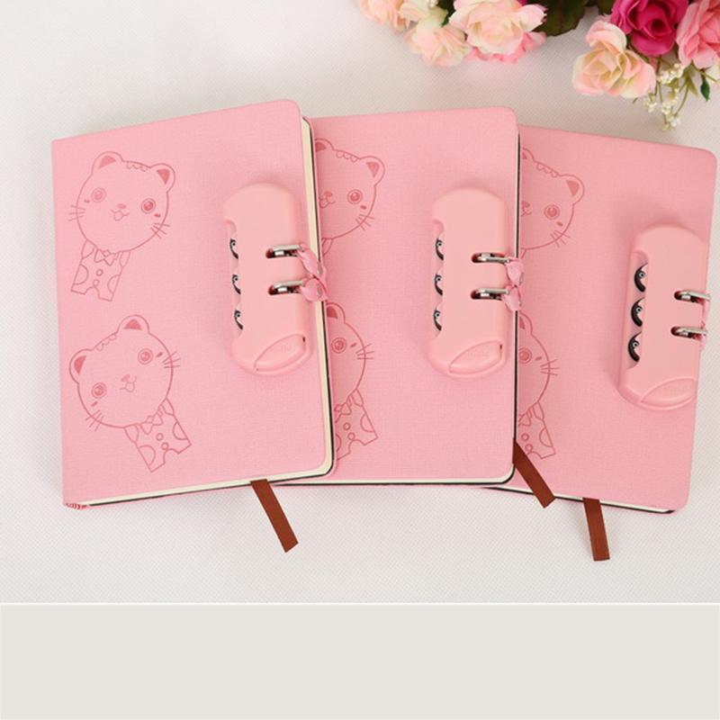 白领公社 密码本 创意卡通猫带锁日记本礼品中小学生儿童文具用品