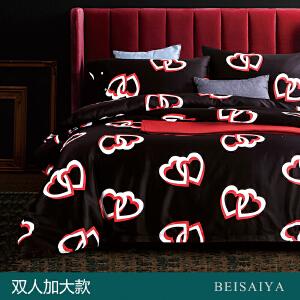 贝赛亚 高端60支贡缎长绒棉床品 双人加大印花床上用品四件套 瑞吉尔