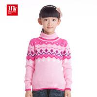 季季乐秋冬女童长袖毛衣复古几何纹高领保暖纯棉毛衣针织衫儿童毛衣GDM41103