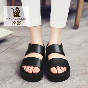 公猴夏季松糕凉鞋女休闲厚底罗马女凉鞋学生凉拖鞋平底中跟女鞋子