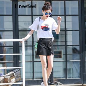 Freefeel 2017夏季新款女装包臀裙春夏链条自然腰A型纯色棉百搭A字裙短裙