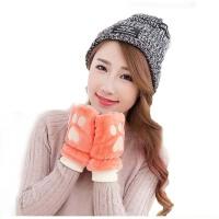 女冬 可爱学生季针织厚手套  加绒露指保暖半指手套  男女通用