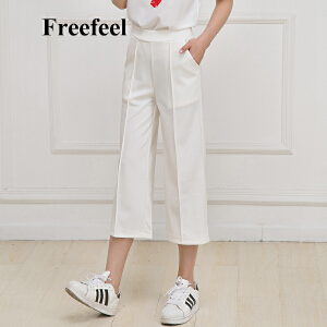 Freefeel2017春夏季女裤新款九分阔腿裤宽松显瘦大码休闲小脚亚麻直筒裤