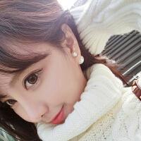 欧丁纯银双面耳钉耳环韩国时尚925纯银大小气泡耳饰品女款T