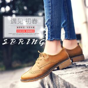 公猴英伦鞋女平底小皮鞋女2017春季新款休闲鞋单鞋平跟布洛克女鞋