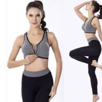 新款高强度专业防震运动文胸前拉链无钢圈跑步健身瑜伽内衣套装