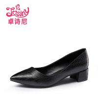 卓诗尼2016春秋新款浅口粗跟甜美裂纹中跟尖头女鞋子