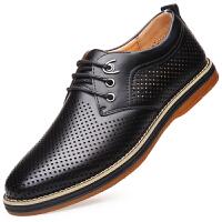格罗堡时尚英伦商务休闲镂空皮凉鞋男士透气低帮平底板鞋系带洞洞鞋男