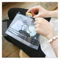 韩国文具 可爱创意小鸡 半透明文件袋 拉边收纳袋 笔袋