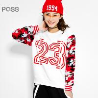 PASS原创潮牌冬装 拼毛绒短款卫衣时髦保暖拼接迷彩长袖卫衣女6540521158