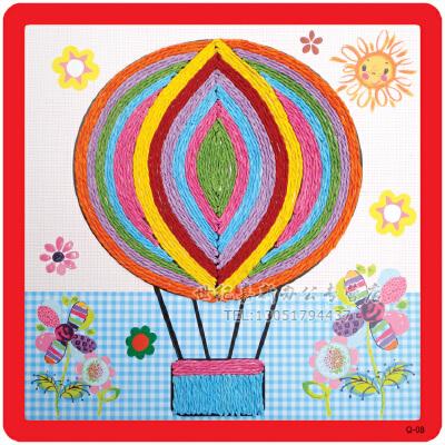 幼儿园diy粘贴画 绳子艺术 幼儿园diy手工材料彩色纸绳_热气球
