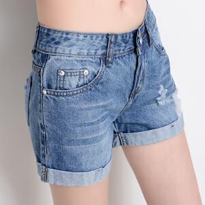 Freefeel2017新款高腰牛仔短裤女夏季磨破洞毛边卷边牛仔裤女士显瘦热裤