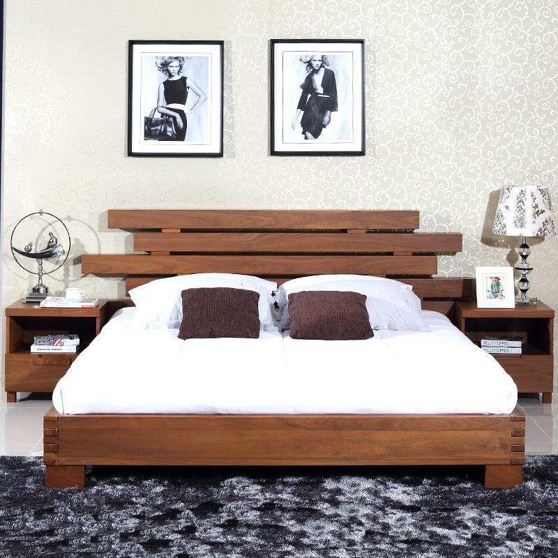 8米木床全实简约约现代婚床卧室家具_全  分享到 查看大图 高端定制