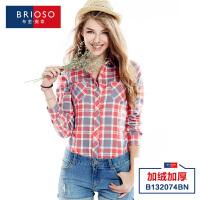 BRIOSO冬装保暖衬衫女式长袖时尚韩版修身加绒保暖加厚大码保暖格子衬衣