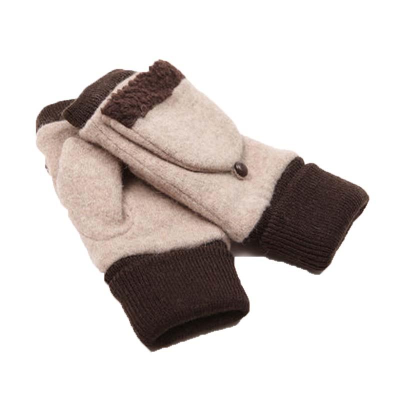 户外保暖半指手套 女秋冬天卡通毛线手套 冬学生可爱翻盖露指手套_a款
