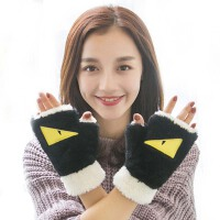 手套女冬可爱冬季毛绒全指手套卡通手套男女加厚半指手套学生