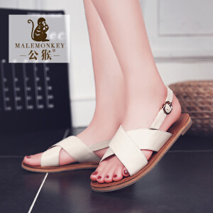 公猴夏季新款平底女凉鞋罗马凉鞋平跟休闲女鞋韩版简约学生凉拖鞋