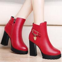 古奇天伦 秋季新款时尚女靴高跟踝靴粗跟短靴侧拉链裸靴女鞋 GQ8498