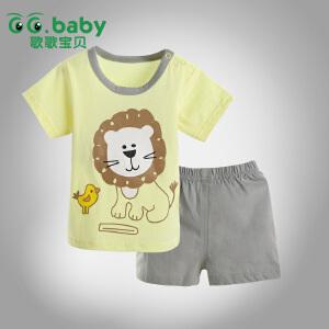 歌歌宝贝 夏季宝宝新款印花套装 宝宝夏季外出服 婴儿全棉短裤套装 宝宝短袖套装