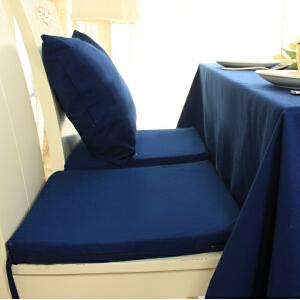 乐唯仕2条装椅垫坐垫布艺夏凉学生椅子垫纯棉蓝色沙发办公室电脑