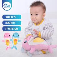 【满200-100】声光安抚小海豚宝宝助眠玩具0-1岁新生婴儿毛绒公仔音乐玩具0-3-6-12个月