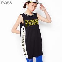 PASS原创潮牌夏装新款 无袖宽松大码胖妹妹中腰短款显瘦连衣裙662244111