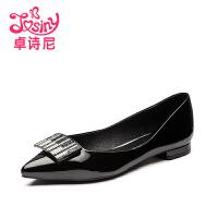 卓诗尼2016秋季新款尖头浅口女鞋 低跟平跟休闲单鞋女