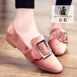 公猴春季浅口单鞋女平底休闲鞋平跟懒人鞋一脚蹬女鞋方扣方头女鞋