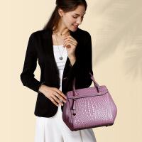 贝尔 女士秋冬款手提包2016欧美时尚单肩包牛皮女包编织斜挎包