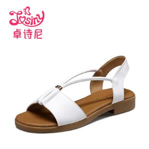 卓诗尼2017夏季新款低跟凉鞋学院风粗跟露趾套脚女鞋144714212