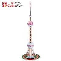 乐立方仿真纸模型立体拼图上海东方明珠塔拼图模型DIY玩具MC105