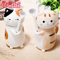 白领公社 陶瓷杯 猫咪情侣杯子动物可爱创意陶瓷马克杯成人儿童男女茶杯喝水杯水具带杯盖勺子生日礼物