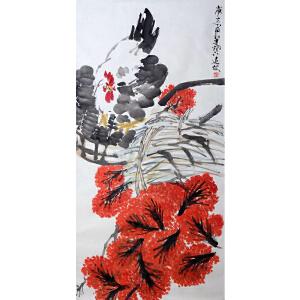 邓远坡  公鸡赏花
