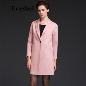 Freefeel2017新款春装羊绒大衣欧美风中长款时尚女装毛呢外套1685