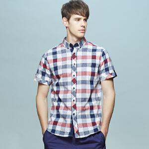 男式亚麻款男式短袖衬衫 清爽红黑白格
