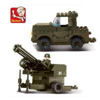 小鲁班 塑料拼装积木 军事系列 防空炮牵引车 儿童拼插益智玩具