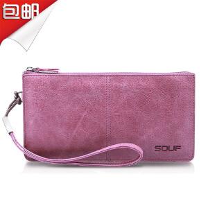 SOUF【支持礼品卡】女士长款钱包真皮 复古头层牛皮拉链手包大容量 韩版刻字潮