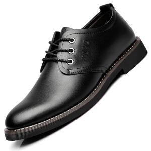格罗堡春季新款男士商务休闲鞋英伦潮流系带正装鞋休闲皮鞋子