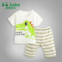 歌歌宝贝 夏季新款宝宝印花套装 婴儿全棉上衣 宝宝短裤婴儿套装