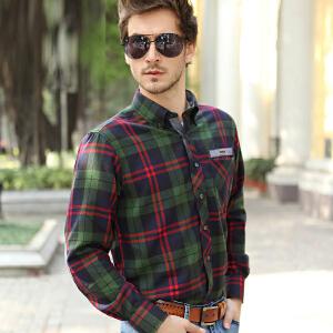秋冬男士长袖衬衫 英伦风格子衬衣 男式时尚休闲上衣