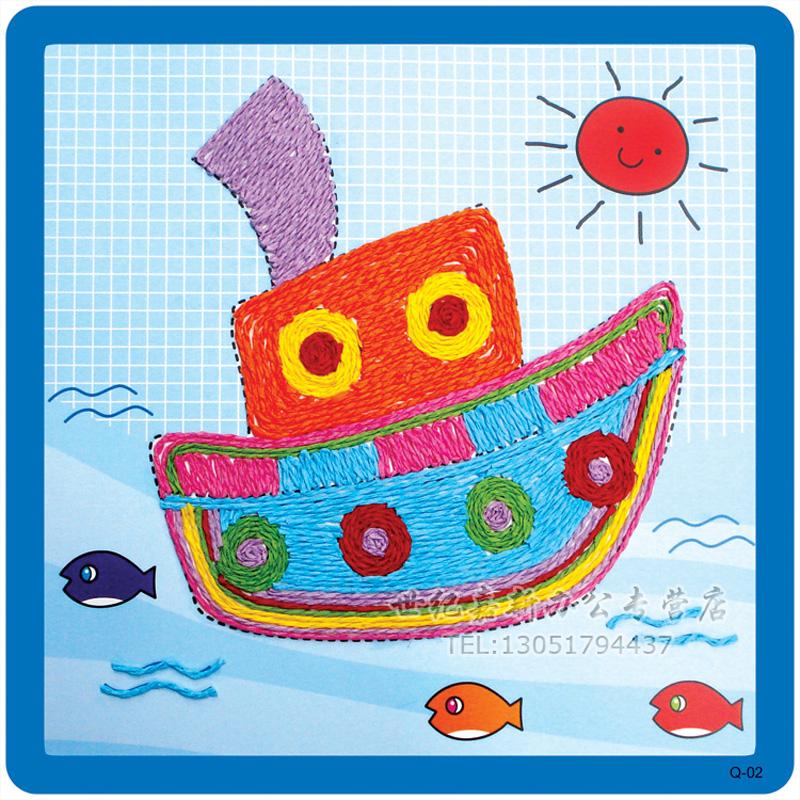 幼儿园diy粘贴画 绳子艺术 幼儿园diy手工材料彩色纸绳_船